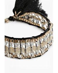 French Connection - Metallic Woven Beaded Tassel Bracelet - Lyst