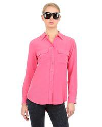 Equipment - Pink Silk Crepe De Chine Shirt - Lyst