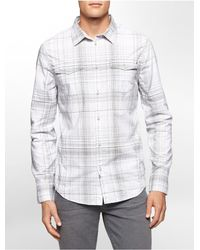 Calvin Klein | Gray Jeans Slim Fit Acid Plaid Cotton Shirt for Men | Lyst
