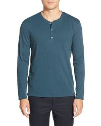 VINCE | Blue Long Sleeve Henley for Men | Lyst