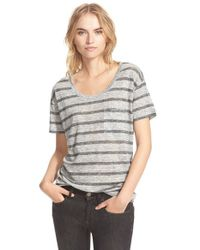 Burberry Brit | Gray Stripe Linen Tee | Lyst