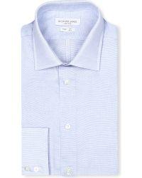 Richard James - Spread-collar Single-cuff Shirt, Men's, Size: 16, Blue for Men - Lyst