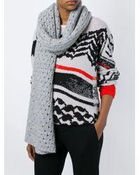 Lala Berlin   Gray Crochet Knit Scarf   Lyst
