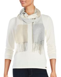 Lord & Taylor - Gray Plaid Knit Scarf - Lyst