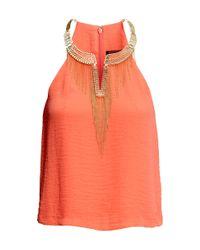 H&M - Orange Embellished Necklace Top - Lyst