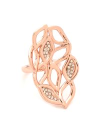 Alexis Bittar | Metallic Crystal Watery Link Ring Rose Gold | Lyst