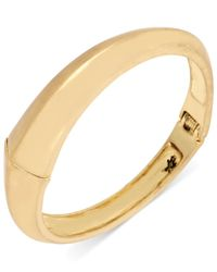 Kenneth Cole | Metallic Gold-tone Sculptural Hinged Bangle Bracelet | Lyst