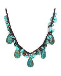 Aeravida | Blue Handmade Teardrop Turquoise Nuggets Pearl Necklace | Lyst