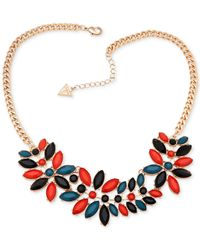 Guess | Metallic Gold-tone Multicolor Statement Necklace | Lyst