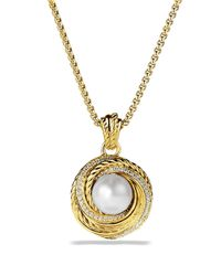 David Yurman - Yellow Pearl Crossover Pendant With Diamonds In Gold On Chain - Lyst
