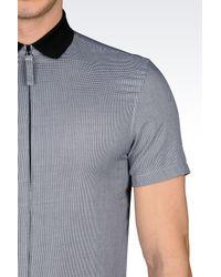 Emporio Armani - Gray Shirt In Jacquard Cotton for Men - Lyst