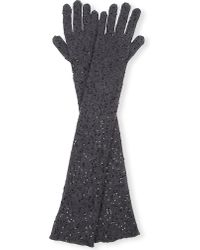 Brunello Cucinelli | Gray Sequin-embellished Cashmere-blend Gloves - For Women | Lyst