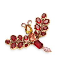 Oscar de la Renta - Red Crystal Bug Brooch - Lyst