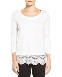 Ivanka Trump | White Lace Hem Sweater | Lyst