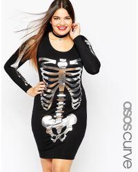 ASOS - Black Halloween Bodycon Dress With Metallic Skeleton Print - Lyst