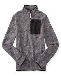 Aéropostale   Gray Long Sleeve Quarter-zip Marled Sweater Fleece Shirt for Men   Lyst