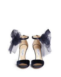 Jimmy Choo | Blue 'Lilyth 100' Tulle Bow Velvet Sandals | Lyst