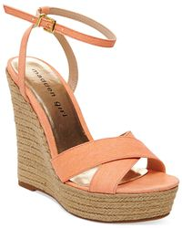 Madden Girl | Pink Viicki Espadrille Platform Wedge Sandals | Lyst