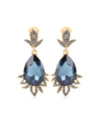 Oscar de la Renta | Blue Crystal Embellished Clip-On Earrings | Lyst