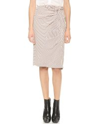 Band of Outsiders - Purple Striped Silk Knot Skirt - Champagne - Lyst