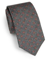 Saks Fifth Avenue | Gray Floral Print Silk Tie for Men | Lyst