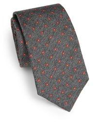 Saks Fifth Avenue - Gray Floral Print Silk Tie for Men - Lyst