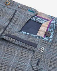 Ted Baker - Blue Checked Tonal Pants for Men - Lyst