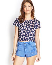 Forever 21 | Blue Faded & Frayed Denim Cutoffs | Lyst