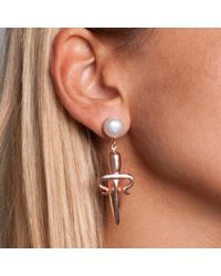 Leivan Kash - Metallic Dagger Gem Drop Earring Rose - Lyst