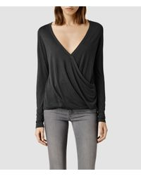AllSaints | Gray Kerin Long Sleeve Top | Lyst