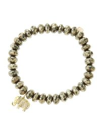 Sydney Evan - Metallic 8Mm Faceted Champagne Pyrite Beaded Bracelet With 14K Gold/Diamond Small Elephant Charm (Made To Order) - Lyst