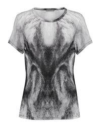 Alexander McQueen - Gray Printed Cotton-jersey T-shirt - Lyst
