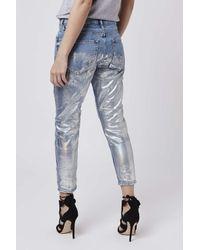 TOPSHOP - Blue Petite Metallic Hayden Jeans - Lyst