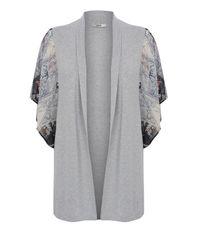 Oasis - Gray Kimono Sleeve Woven Cardigan - Lyst