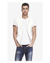 Express - White Hooded Sleeveless Fleece Vest for Men - Lyst
