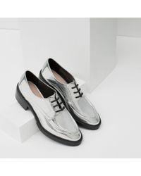 Zara   Metallic Flat Lace-up Shoes   Lyst