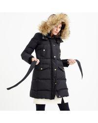 J.Crew - Black Tall Wintress Puffer Coat With Faux-fur Hood - Lyst