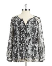 Calvin Klein | Black Plus Size Linen Printed Top | Lyst