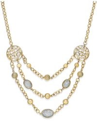 Style & Co. | Metallic Gold-tone Glitter And Filigree Three-row Necklace | Lyst