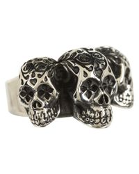 King Baby Studio | Metallic Day Of The Dead Triple Skull Ring for Men | Lyst