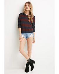 Forever 21 - Blue Hooded Stripe Sweater - Lyst