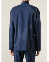 J.W.Anderson | Blue Layered Bib Pinstripe Shirt for Men | Lyst