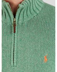 Polo Ralph Lauren - Green Zipup Cotton Jumper for Men - Lyst