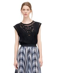 Rebecca Taylor | Black Sleeveless Pop Paisley Top | Lyst