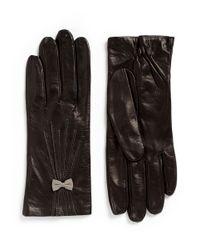 Georges Morand - Black Bow Appliqué Kid Leather Gloves - Lyst