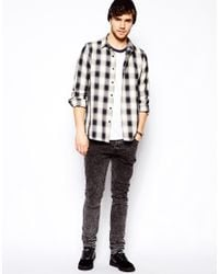 ASOS | Overshirt In Long Sleeve With Navy And White Check for Men | Lyst