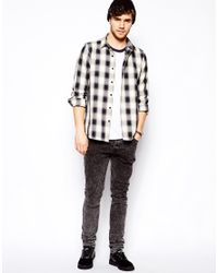 ASOS - Overshirt In Long Sleeve With Navy And White Check for Men - Lyst