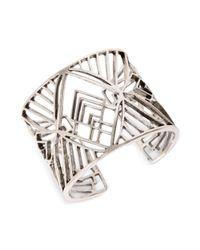 Lucky Brand   Metallic Silver Tone Openwork Tribal Cuff Bracelet   Lyst