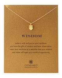 Dogeared - Metallic Gold-dipped Wisdom Owl Necklace - Lyst