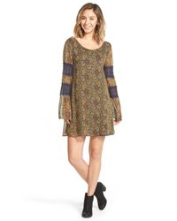 Volcom | Brown Print Lace Detail Shift Dress | Lyst